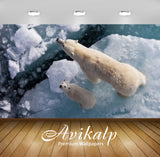Avikalp Exclusive Awi2635 Flyovers White Polar Bear With Cub Full HD Wallpapers for Living room, Hal