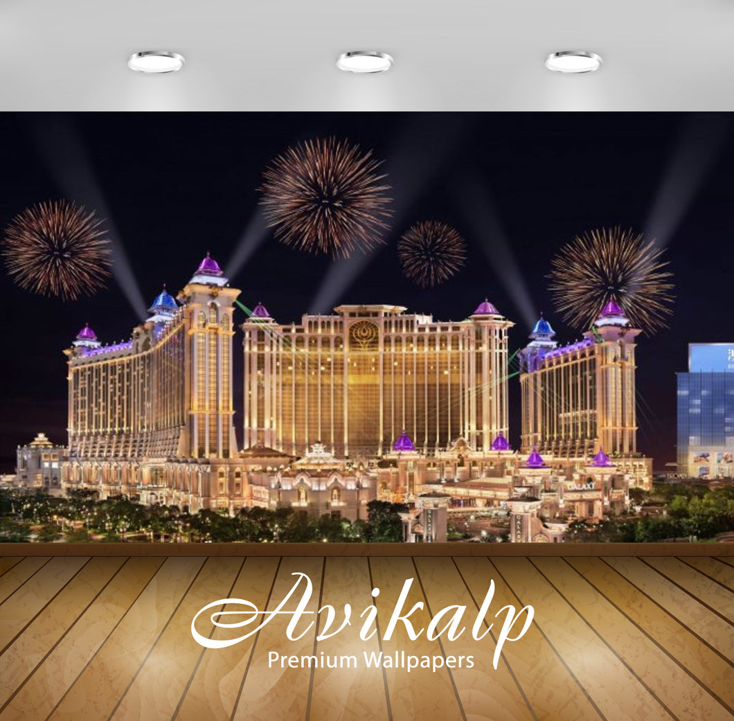Avikalp Exclusive Awi2650 Galaxy Hotel Macau Cotai Fireworks In The Night Full HD Wallpapers for Liv