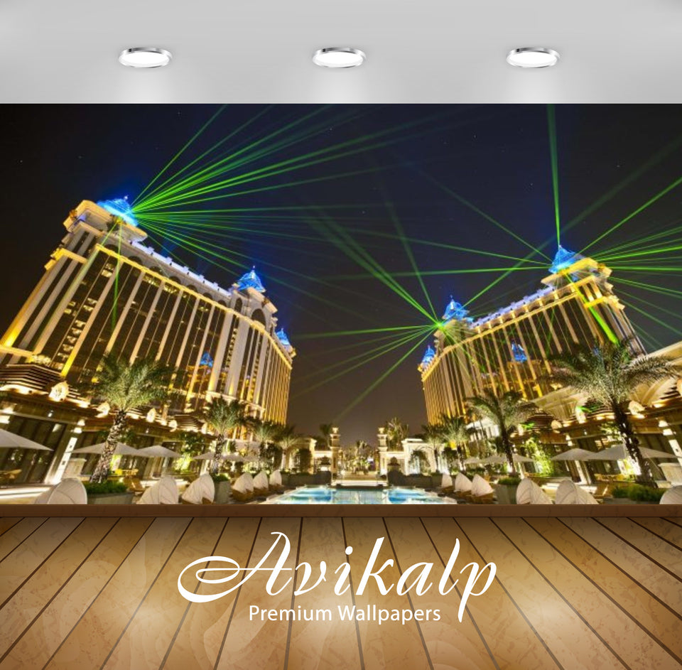 Avikalp Exclusive Awi2651 Galaxy Hotel Macau Cotai Laser Beams At Night Full HD Wallpapers for Livin