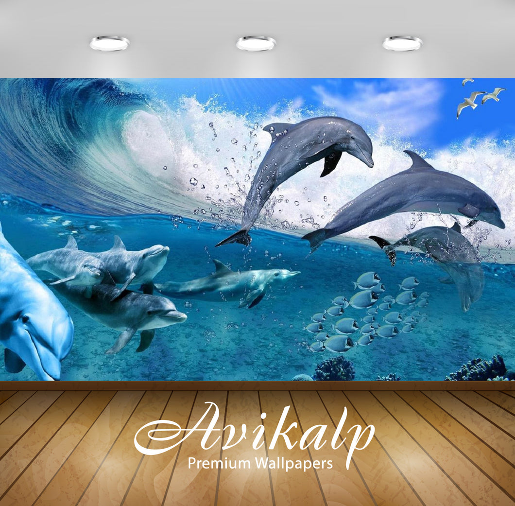 Avikalp Exclusive Awi2698 Happy Dolphins Game Sea Fish Coral Waves Summer Full HD Wallpapers for Liv
