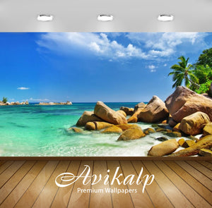 Avikalp Exclusive Awi2704 Hawaii Islands Tropical Paradise Relaxation Nature Sandy Beach Rocks Ocean