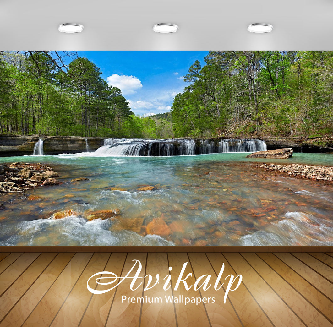 Avikalp Exclusive Awi2709 Haw Creek Falls In The Arkansas Ozarks Spring Landscape Waterfall Full HD