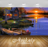 Avikalp Exclusive Awi2726 House Lake Sunset Full HD Wallpapers for Living room, Hall, Kids Room, Kit