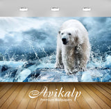 Avikalp Exclusive Awi2728 Hunter Ice White Polar Bear In Drops Of Water Animal Full HD Wallpapers fo