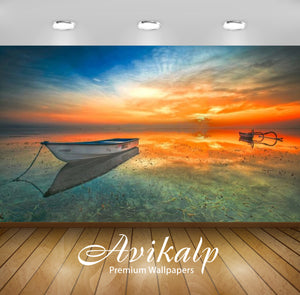 Avikalp Exclusive Awi2733 Indonesia Landscape Sunset Beach Lake Boat Orange Sky Reflection In The Wa