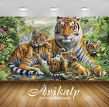 Avikalp Exclusive Awi2746 Jungle Animal Tiger With Her Cubs Abstract Full HD Wallpapers for Living r