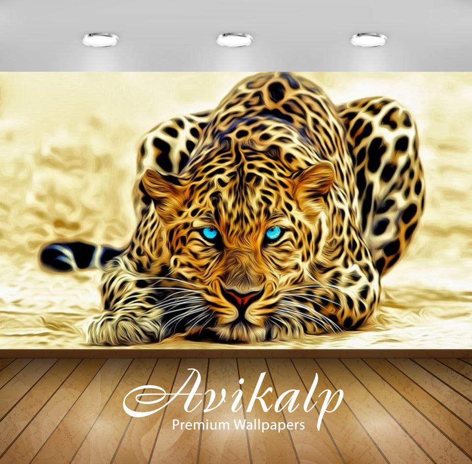 Avikalp Exclusive Awi2791 Leopard Art Abstract Full HD Wallpapers for Living room, Hall, Kids Room,