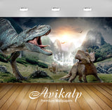 Avikalp Exclusive Awi2819 Mama Dinosaur Baby Dinosaur Full HD Wallpapers for Living room, Hall, Kids
