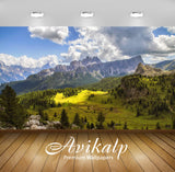 Avikalp Exclusive Awi2837 Mountain Landscape Rocky Peaks Forest With Pine Trees Meadow With Green Ne