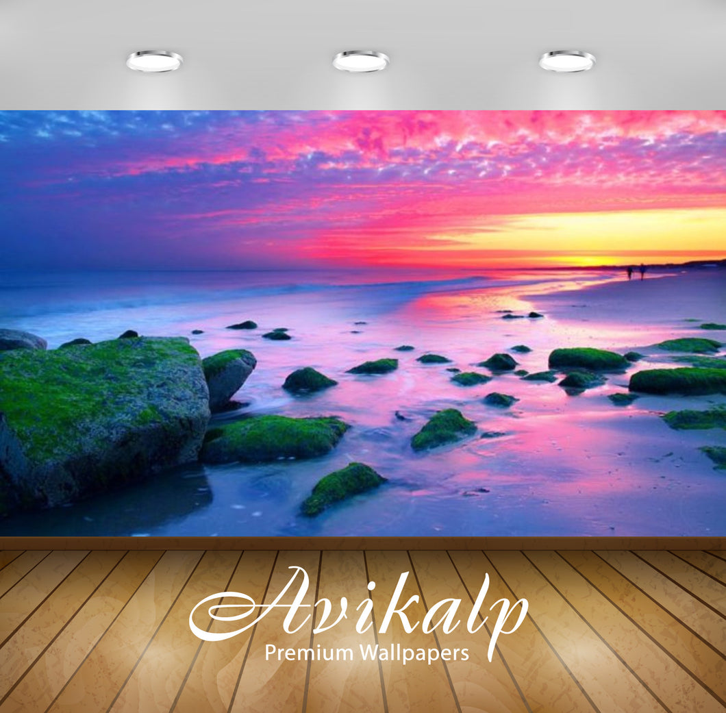 Avikalp Exclusive Awi2847 Nature Landscapes Sunset The Hague Netherlands Sea Coast Rocks Red Sky Ful