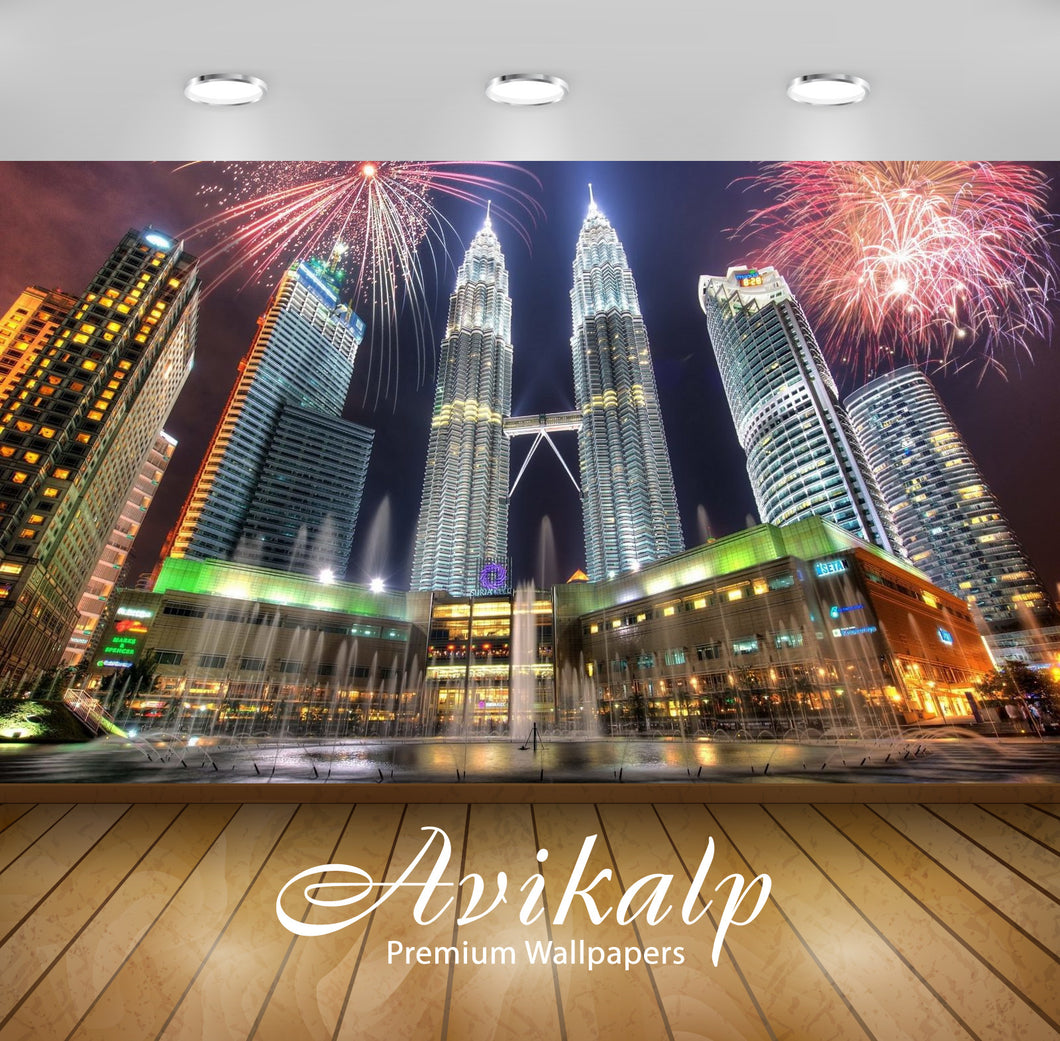 Avikalp Exclusive Awi2861 New Years Eve Petronas Towers Kuala Lumpur Malaysia Full HD Wallpapers for