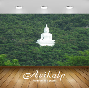 Avikalp Exclusive Awi3297 Meditating Lord Budhha Amidst Greenery Nature Full HD Wallpapers for Livin