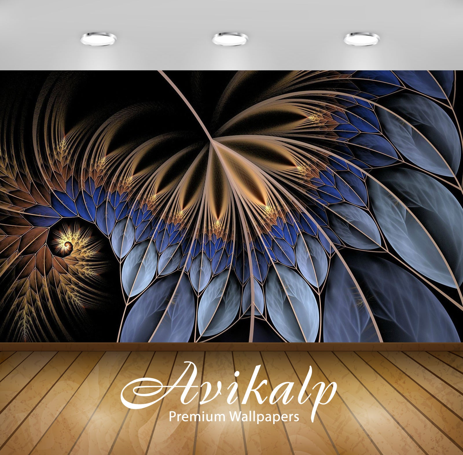 Avikalp Exclusive Awi3478 Fractal Feather Abstract Full HD Wallpapers for Living room, Hall, Kids Ro