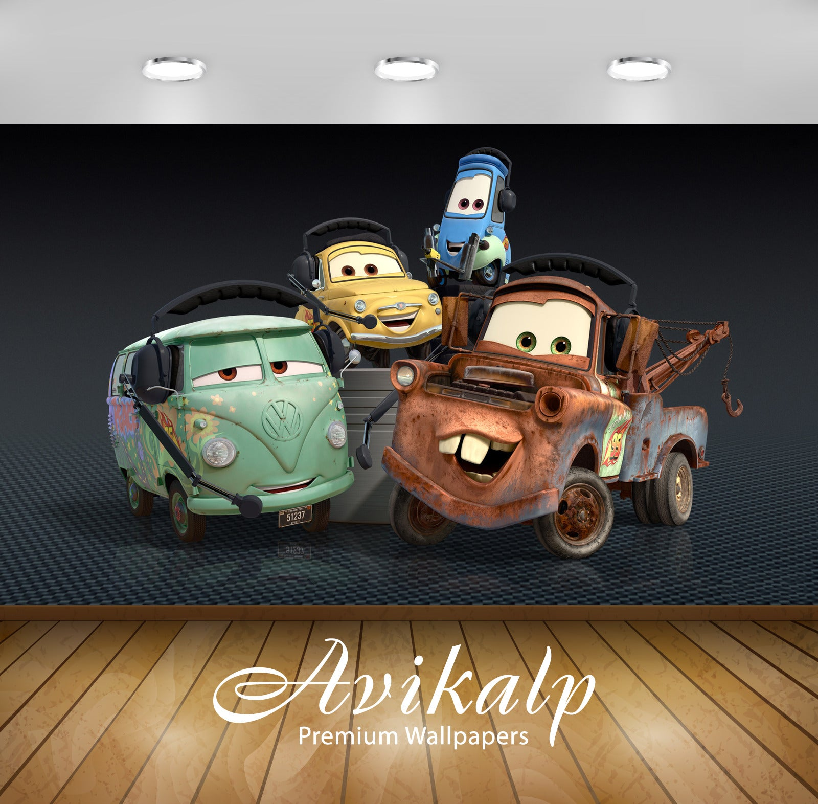 Avikalp Exclusive Awi3502 Cars Cartoon Full HD Wallpapers for Living room, Hall, Kids Room, Kitchen,