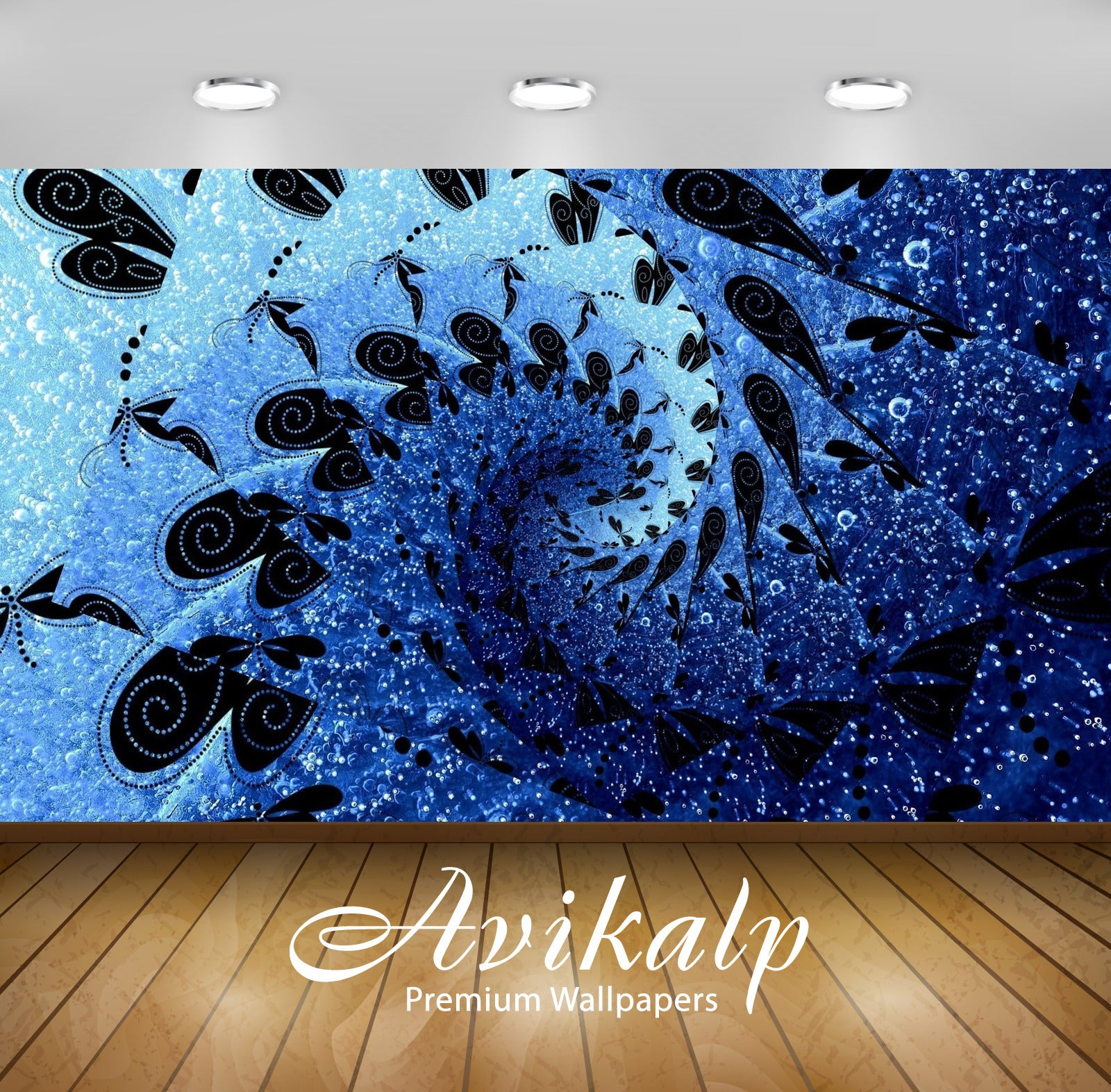 Avikalp Exclusive Awi4298 Dragonfly Spiral Full HD Wallpapers for Living room, Hall, Kids Room, Kitc