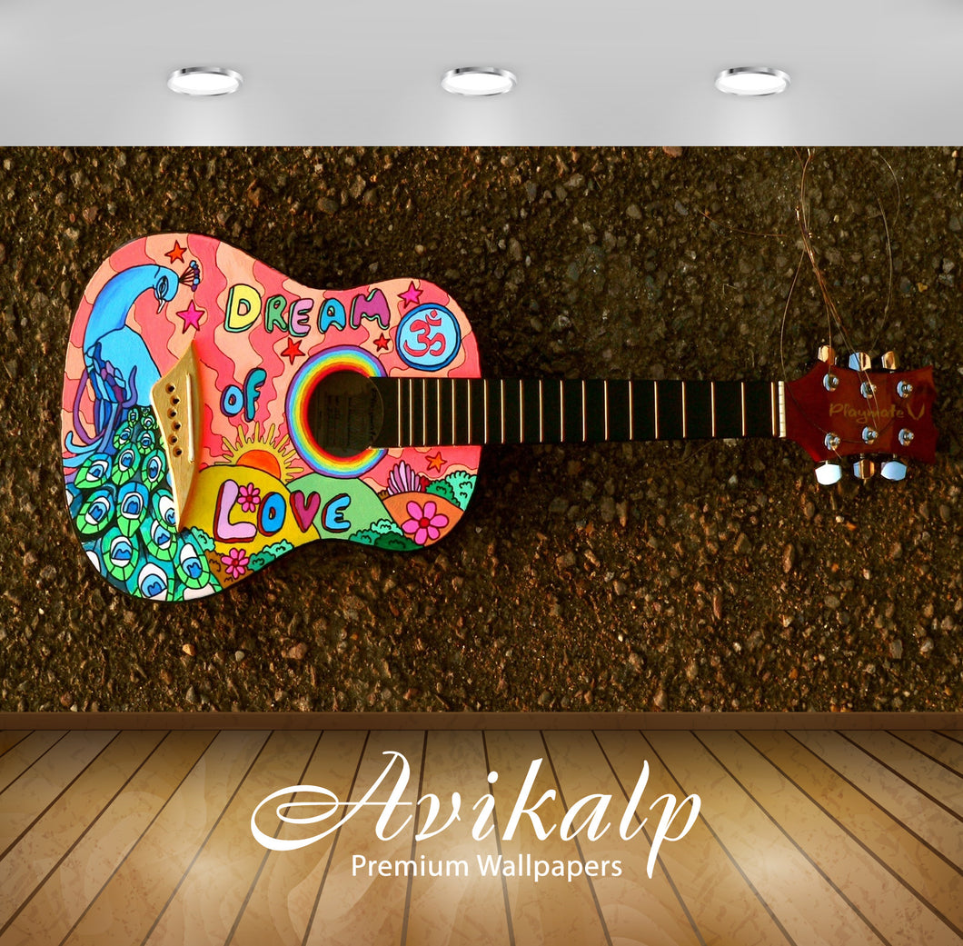 Avikalp Exclusive Awi4724 Painted Guitar Music Instrument Song Full HD Wallpapers for Living room, H