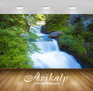 Avikalp Exclusive Awi5014 Waterfall Mountain Full HD Wallpapers for Living room, Hall, Kids Room, Ki