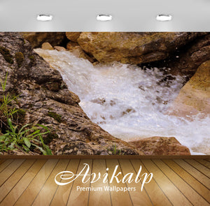 Avikalp Exclusive Awi5015 Waterfall Mountain Full HD Wallpapers for Living room, Hall, Kids Room, Ki