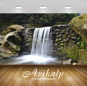 Avikalp Exclusive Awi5029 Waterfall Mountain Full HD Wallpapers for Living room, Hall, Kids Room, Ki