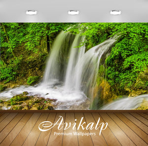 Avikalp Exclusive Awi5042 Waterfall Mountain Full HD Wallpapers for Living room, Hall, Kids Room, Ki