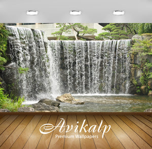 Avikalp Exclusive Awi5043 Waterfall Mountain Full HD Wallpapers for Living room, Hall, Kids Room, Ki