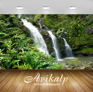 Avikalp Exclusive Awi5048 Waterfall Mountain Full HD Wallpapers for Living room, Hall, Kids Room, Ki