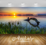 Avikalp Exclusive Awi5515 Golden Sunset At The Lake Nature Full HD Wallpapers for Living room, Hall,
