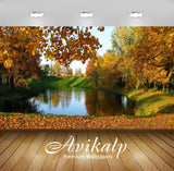 Avikalp Exclusive Awi5689 Lake In The Autumn Garden Nature Full HD Wallpapers for Living room, Hall,