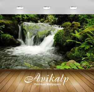 Avikalp Exclusive Awi5784 Mossy Waterfall Nature Full HD Wallpapers for Living room, Hall, Kids Room