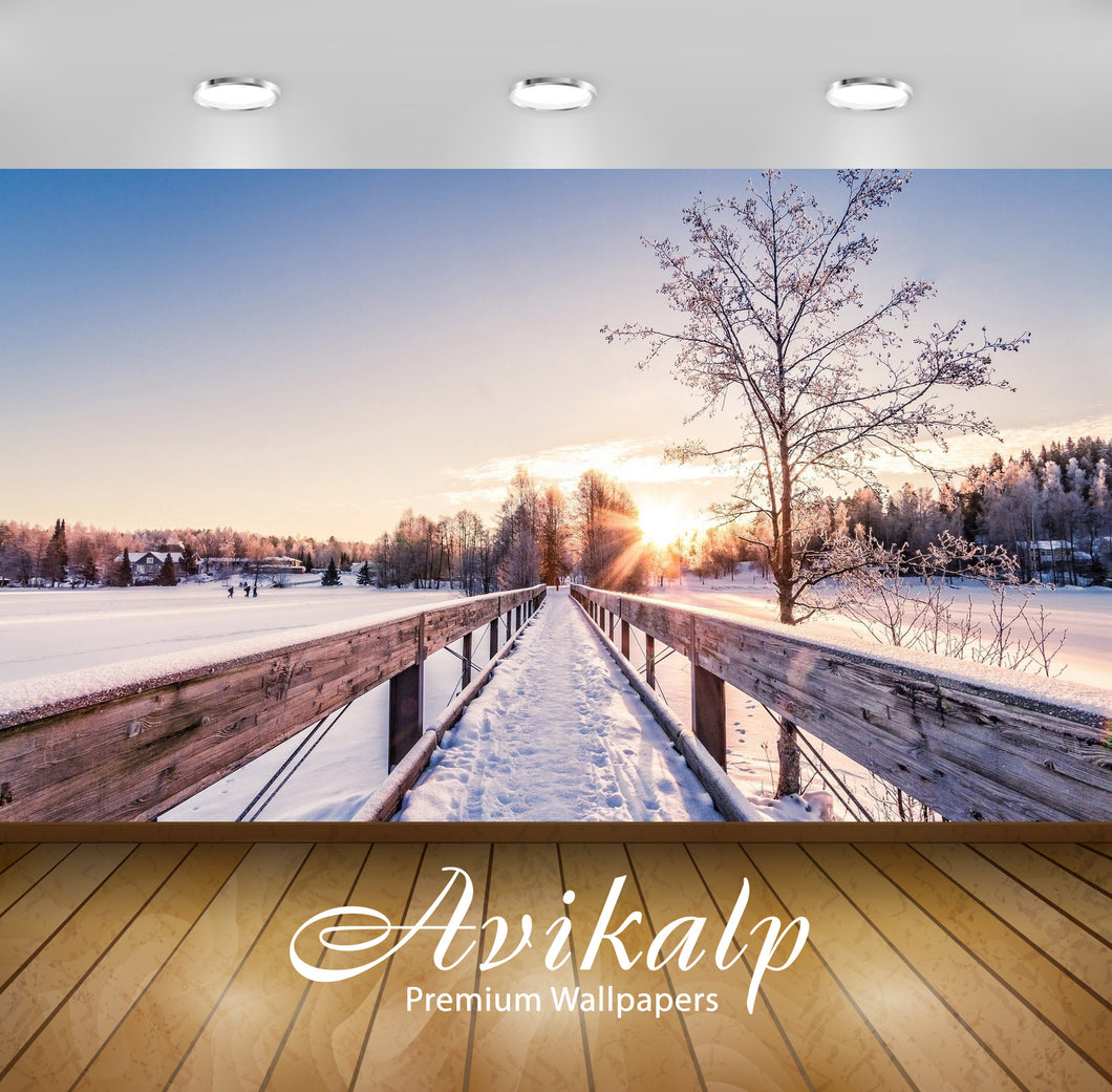 Avikalp Exclusive Awi6256 Snowy Bridge To The Sun Nature Full HD Wallpapers for Living room, Hall, K