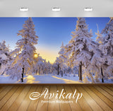 Avikalp Exclusive Awi6259 Snowy Firs Nature Full HD Wallpapers for Living room, Hall, Kids Room, Kit