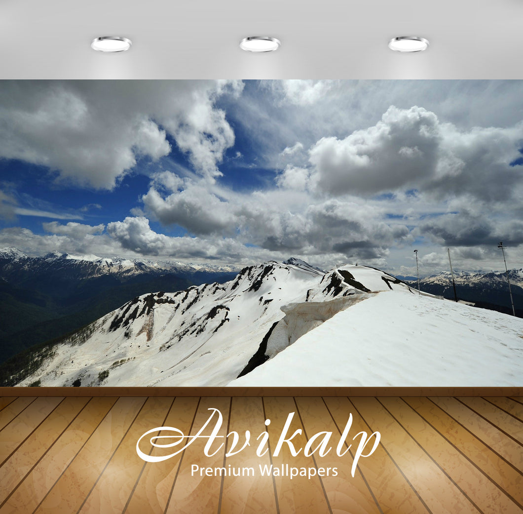 Avikalp Exclusive Awi6281 Snowy Mountain Top Nature Full HD Wallpapers for Living room, Hall, Kids R