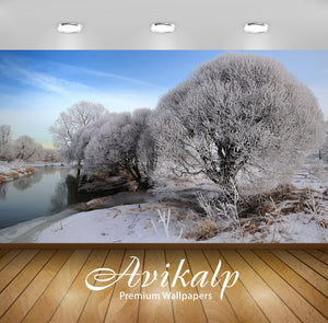 Avikalp Exclusive Awi6330 Snowy Trees By The River Nature Full HD Wallpapers for Living room, Hall,