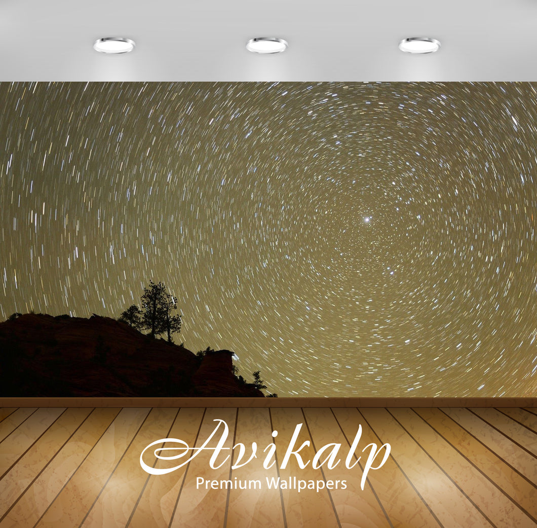 Avikalp Exclusive Awi6352 Starry Sky Spinning Around The Bright Star Nature Full HD Wallpapers for L