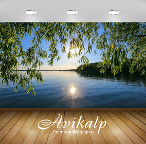 Avikalp Exclusive Awi6400 Sun Light Reflecting In The Lake Nature Full HD Wallpapers for Living room