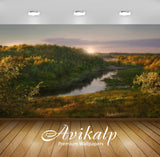 Avikalp Exclusive Awi6407 Sun Rises Above The River Nature Full HD Wallpapers for Living room, Hall,
