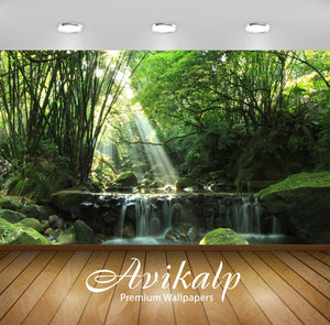 Avikalp Exclusive Awi6431 Sunlight Over The Waterfall Nature Full HD Wallpapers for Living room, Hal