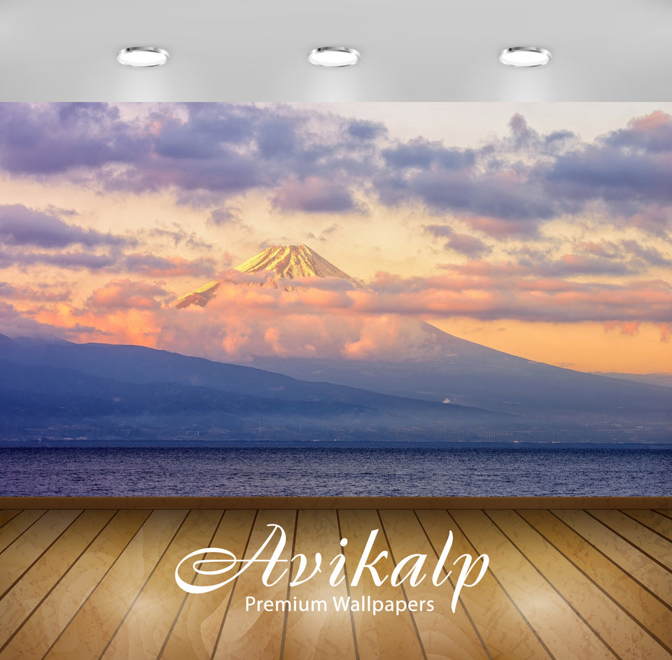Avikalp Exclusive Awi6473 Sunrise Over Mount Fuji Nature Full HD Wallpapers for Living room, Hall, K