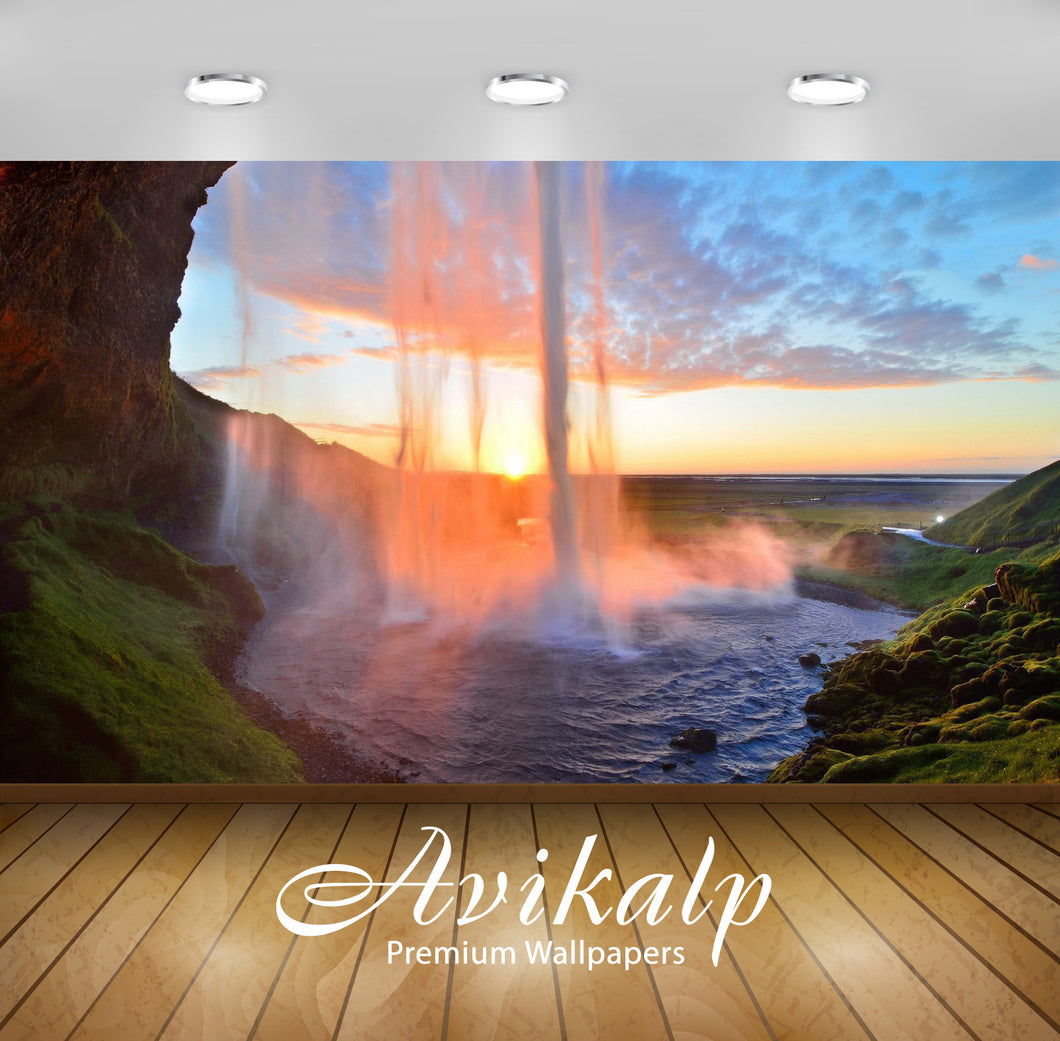 Avikalp Exclusive Awi6547 Tall Waterfall In The Sunset Nature Full HD Wallpapers for Living room, Ha