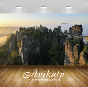 Avikalp Exclusive Awi6550 The Bastei Bridge At Sunset Nature Full HD Wallpapers for Living room, Hal