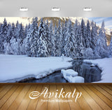 Avikalp Exclusive Awi6563 Thick Snow On The River Side Nature Full HD Wallpapers for Living room, Ha