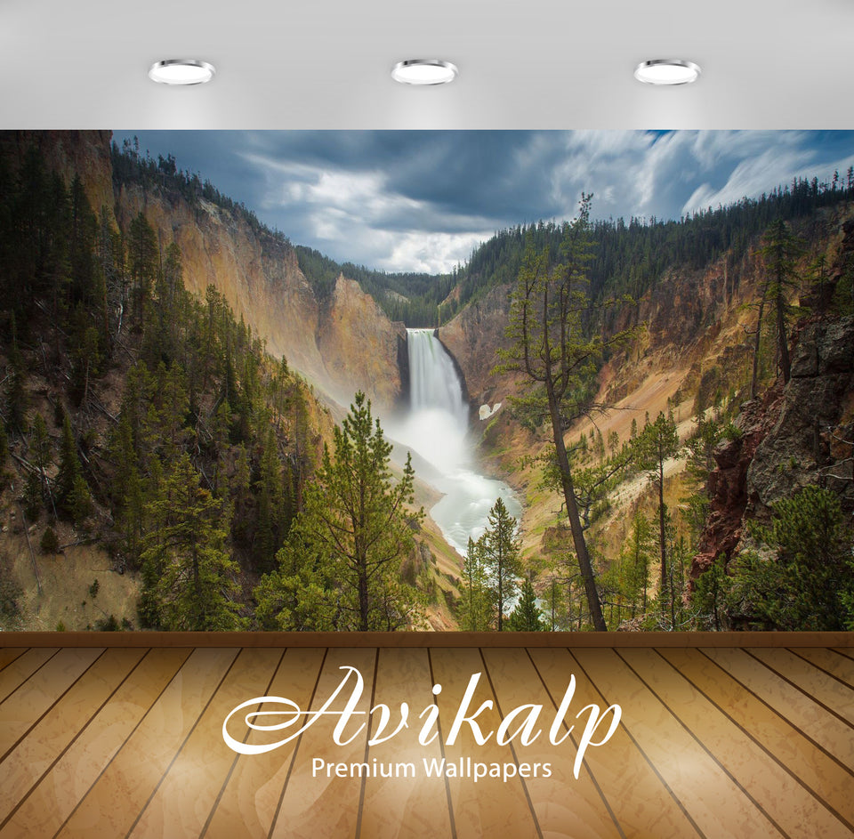 Avikalp Exclusive Awi6628 Upper Yellowstone Falls Nature Full HD Wallpapers for Living room, Hall, K