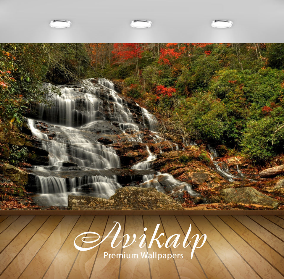 Avikalp Exclusive Awi6656 Waterfall In An Autumn Forest Nature Full HD Wallpapers for Living room, H