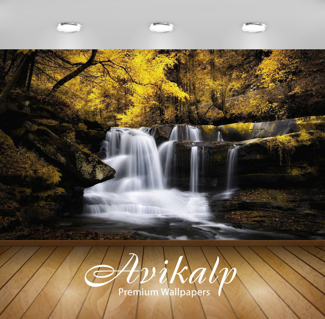 Avikalp Exclusive Awi6658 Waterfall In The Autumn Woods Nature Full HD Wallpapers for Living room, H