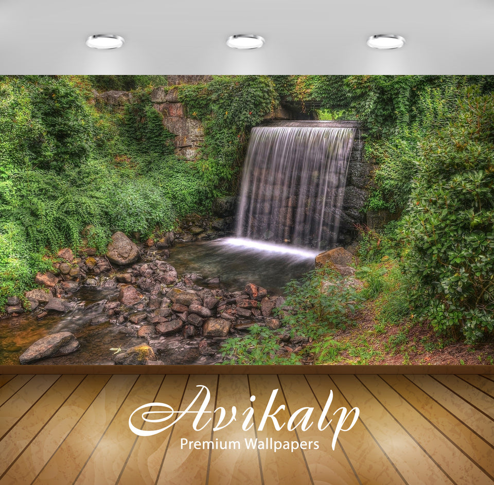 Avikalp Exclusive Awi6667 Waterfall On Rocky River Nature Full HD Wallpapers for Living room, Hall,