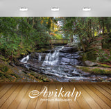 Avikalp Exclusive Awi6673 Waterfall Under The Wooden Bridge Nature Full HD Wallpapers for Living roo