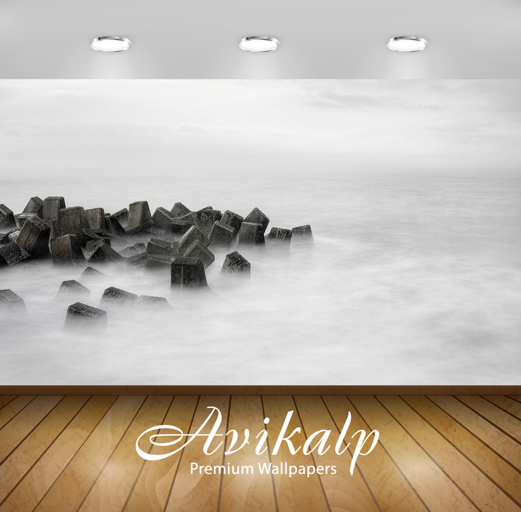 Avikalp Exclusive Awi6678 Waves Over The Breakwater Nature Full HD Wallpapers for Living room, Hall,