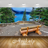 Avikalp Exclusive Awi6727 Wooden Bench On The Lake Shore Nature Full HD Wallpapers for Living room,