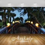 Avikalp Exclusive Awi6731 Wooden Bridge In The Garden Nature Full HD Wallpapers for Living room, Hal