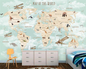 Avikalp Children Room Wall 3d Wallpaper Cartoon Airplane Sailing Animals World Map Backgrou